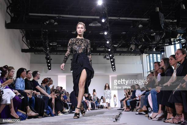 Bella Hadid walks the runway at the Michael Kors Ready to Wear Spring/Summer 2018 fashion show during New York Fashion Week at Spring Studios on...