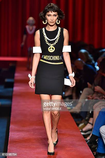 Bella Hadid walks the runway at the Moschino Ready to Wear show during Milan Fashion Week Spring/Summer 2017 on September 22 2016 in Milan Italy