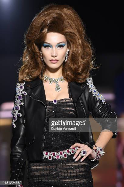 Bella Hadid walks the runway at the Moschino show at Milan Fashion Week Autumn/Winter 2019/20 on February 21 2019 in Milan Italy