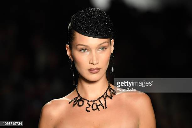 Bella Hadid walks the runway at the Moschino show during Milan Fashion Week Spring/Summer 2019 on September 20 2018 in Milan Italy