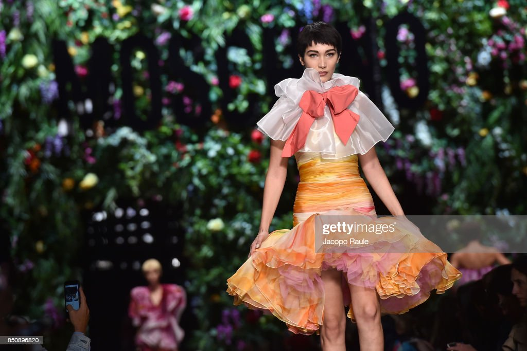 Bella Hadid walks the runway at the Moschino show during Milan Fashion Week Spring/Summer 2018 on September 21, 2017 in Milan, Italy.