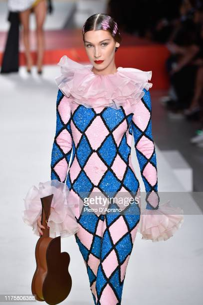 Bella Hadid walks the runway at the Moschino show during the Milan Fashion Week Spring/Summer 2020 on September 19 2019 in Milan Italy