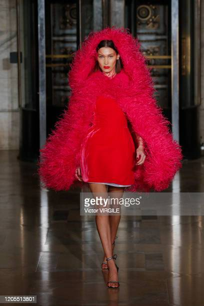 Bella Hadid walks the runway at the Oscar De La Renta Ready to Wear Fall/Winter 2020-2021 during New York Fashion Week on February 10, 2020 in New...