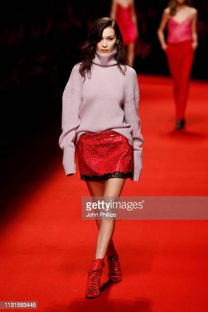 Bella Hadid walks the runway at the Philosophy Di Lorenzo Serafini show at Milan Fashion Week Autumn/Winter 2019/20 on February 23, 2019 in Milan,...