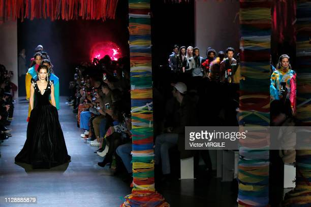 Bella Hadid walks the runway at the Prabal Gurung Ready to Wear Fall/Winter 20192020 fashion show during New York Fashion Week on February 10 2019 in...