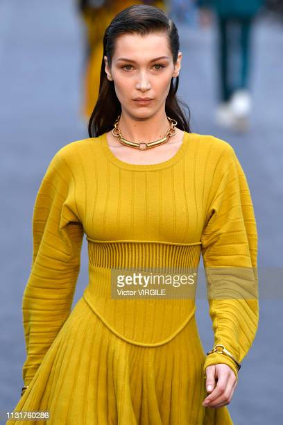 Bella Hadid walks the runway at the Roberto Cavalli Ready to Wear Fall/Winter 20192020 fashion show at Milan Fashion Week Autumn/Winter 2019/20 on...