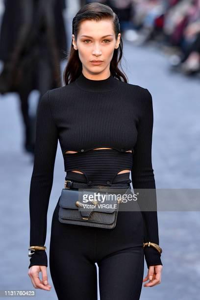 Bella Hadid walks the runway at the Roberto Cavalli Ready to Wear Fall/Winter 20192020 fashion show at Milan Fashion Week Autumn/Winter 2019/20 on...