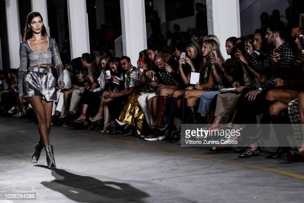 Bella Hadid walks the runway at the Roberto Cavalli show during Milan Fashion Week Spring/Summer 2019 on September 22 2018 in Milan Italy