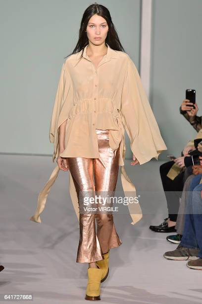 Bella Hadid walks the runway at the Sies Marjan fashion show during New York Fashion Week Fall Winter 20172018 on February 12 2017 in New York City