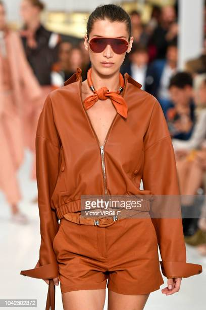 Bella Hadid walks the runway at the Tod's Ready to Wear fashion show during Milan Fashion Week Spring/Summer 2019 on September 21, 2018 in Milan,...