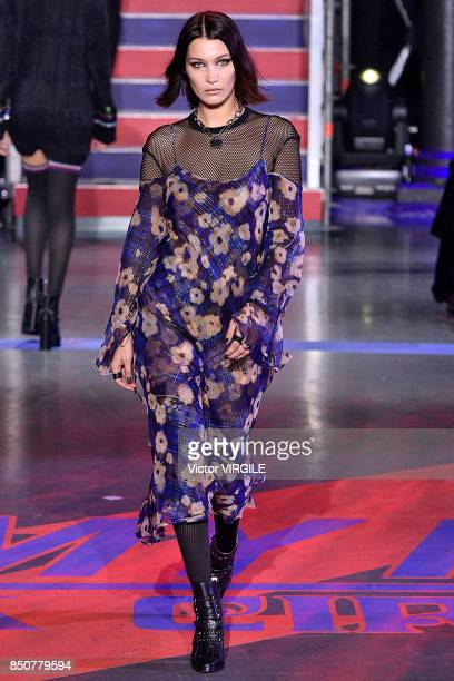 Bella Hadid walks the runway at the Tommy Hilfiger Ready to Wear Spring/Summer 2018 fashion show during London Fashion Week September 2017 on...