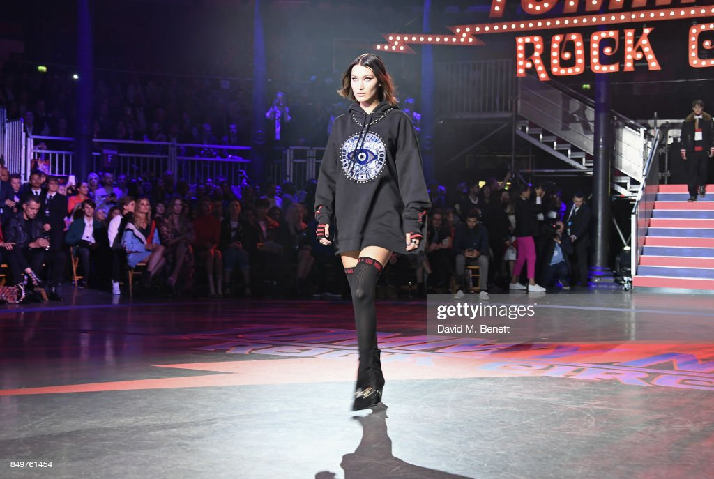 Bella Hadid walks the runway at the Tommy Hilfiger TOMMYNOW Fall 2017 Show during London Fashion Week September 2017 at The Roundhouse on September 19, 2017 in London, England.