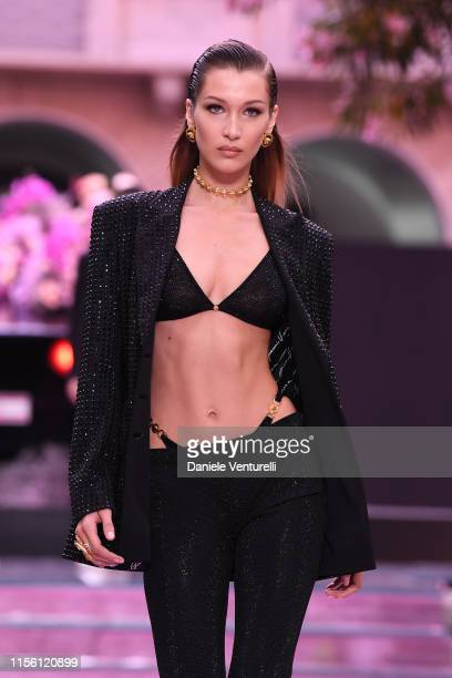 Bella Hadid walks the runway at the Versace fashion show during the Milan Men's Fashion Week Spring/Summer 2020 on June 15, 2019 in Milan, Italy.