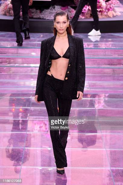 Bella Hadid walks the runway at the Versace fashion show during the Milan Men's Fashion Week Spring/Summer 2020 on June 15 2019 in Milan Italy