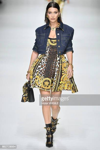 Bella Hadid walks the runway at the Versace Ready to Wear Spring/Summer 2018 fashion show during Milan Fashion Week Spring/Summer 2018 on September...