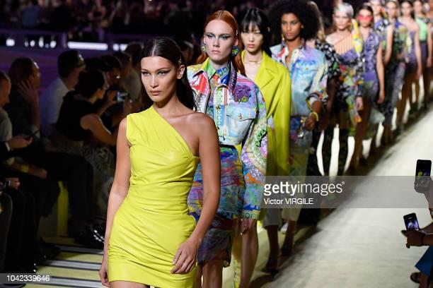 Bella Hadid walks the runway at the Versace Ready to Wear fashion show during Milan Fashion Week Spring/Summer 2019 on September 21 2018 in Milan...