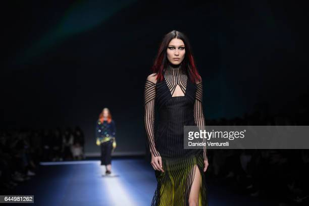 Bella Hadid walks the runway at the Versace show during Milan Fashion Week Fall/Winter 2017/18 on February 24 2017 in Milan Italy