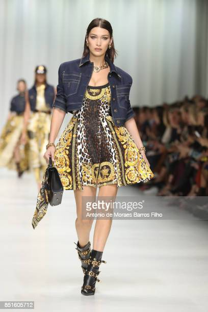 Bella Hadid walks the runway at the Versace show during Milan Fashion Week Spring/Summer 2018 on September 22 2017 in Milan Italy