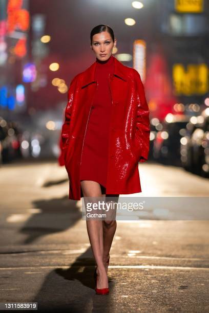 Bella Hadid walks the runway during at the Michael Kors Fashion Show at the Booth Theater in Midtown on April 08, 2021 in New York City.