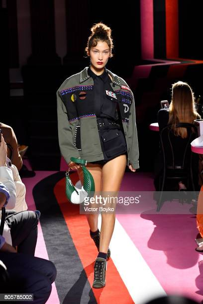 Bella Hadid walks the runway during Miu Miu Cruise Collection show as part of Haute Couture Paris Fashion Week on July 2 2017 in Paris France
