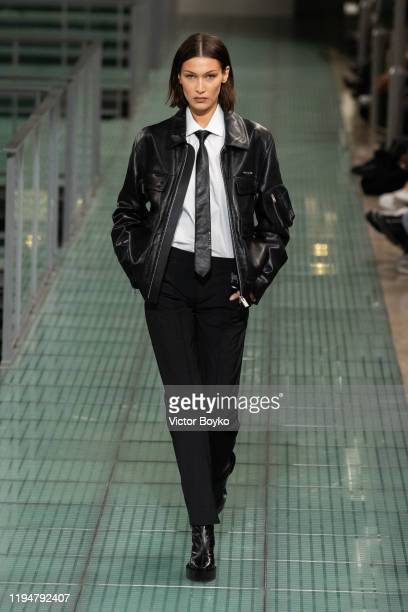 Bella Hadid walks the runway during the 1017 Alyx 9SM Menswear Fall/Winter 2020-2021 show as part of Paris Fashion Week on January 19, 2020 in Paris,...
