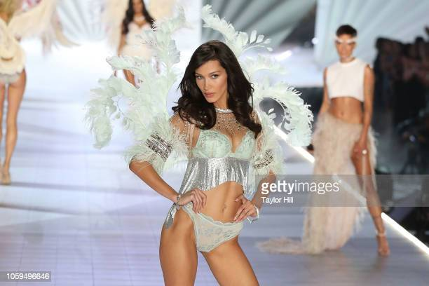 Bella Hadid walks the runway during the 2018 Victoria's Secret Fashion Show at Pier 94 on November 8, 2018 in New York City.