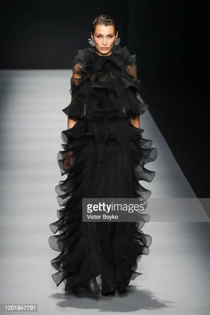 Bella Hadid walks the runway during the Alberta Ferretti fashion show as part of Milan Fashion Week Fall/Winter 20202021 on February 19 2020 in Milan...
