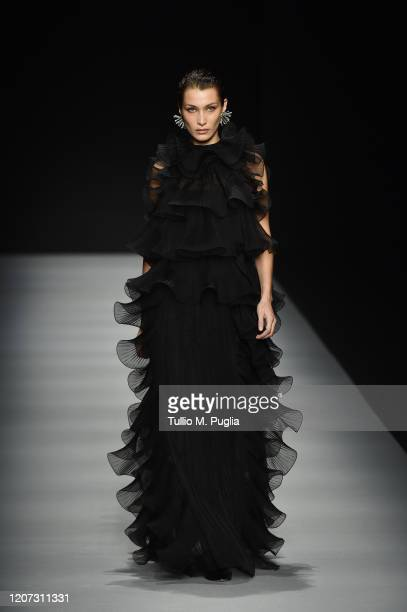 Bella Hadid walks the runway during the Alberta Ferretti fashion show as part of Milan Fashion Week Fall/Winter 2020-2021 on February 19, 2020 in...