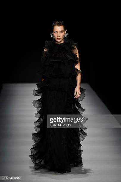 Bella Hadid walks the runway during the Alberta Ferretti fashion show as part of Milan Fashion Week Fall/Winter 2020-2021 on February 19, 2020 in...