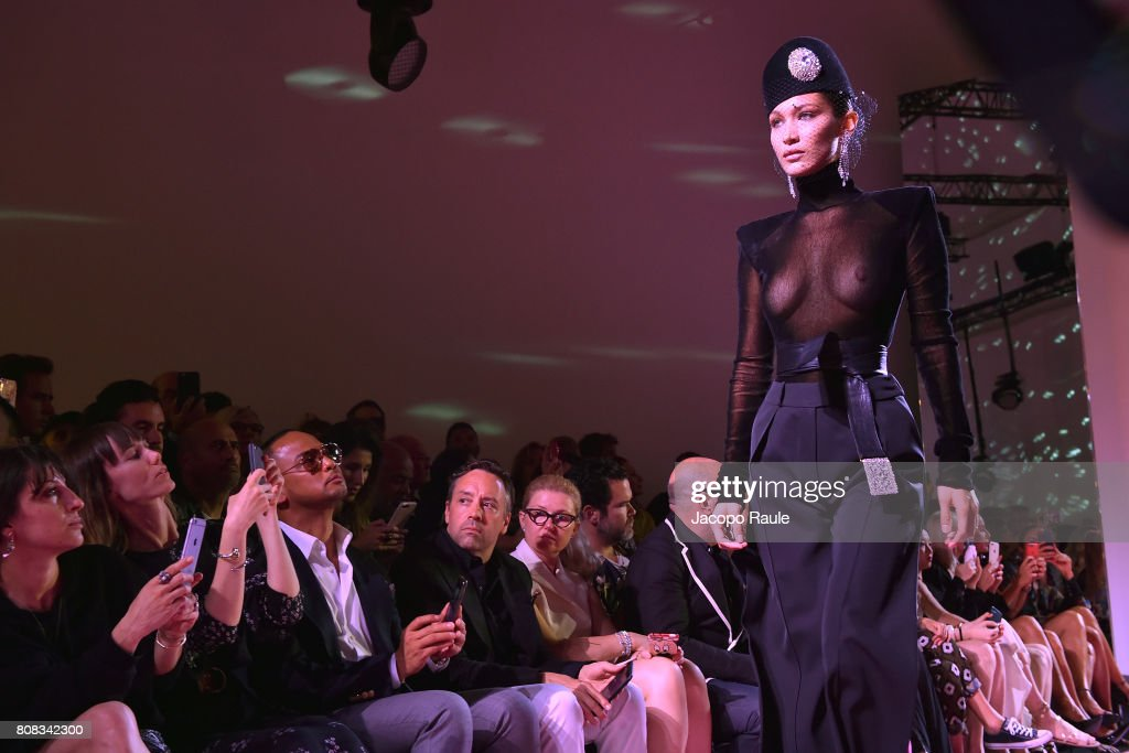 Bella Hadid walks the runway during the Alexander Vauthier Haute Couture Fall/Winter 2017-2018 show as part of Haute Couture Paris Fashion Week on July 4, 2017 in Paris, France.