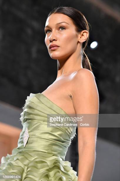 Bella Hadid walks the runway during the Alexandre Vauthier Haute Couture Spring/Summer 2020 show as part of Paris Fashion Week on January 21 2020 in...