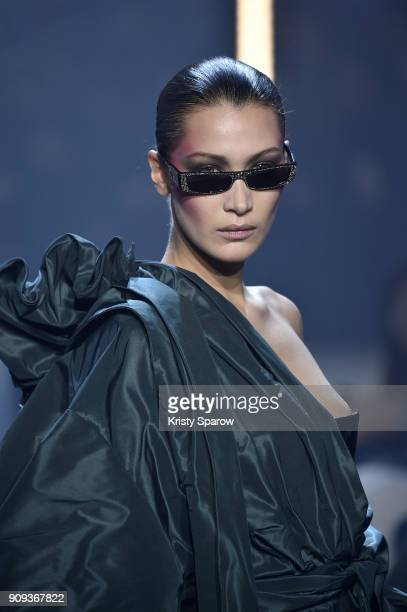 Bella Hadid walks the runway during the Alexandre Vauthier Spring Summer 2018 show as part of Paris Fashion Week on January 23 2018 in Paris France