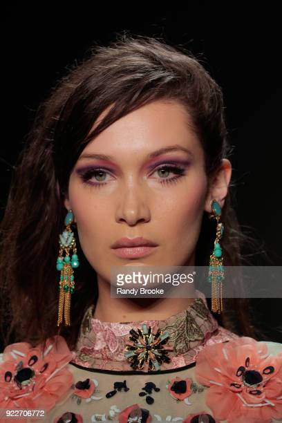 Bella Hadid walks the runway during the Anna Sui fashion show February 2018 New York Fashion Week The Shows at Gallery I at Spring Studios on...