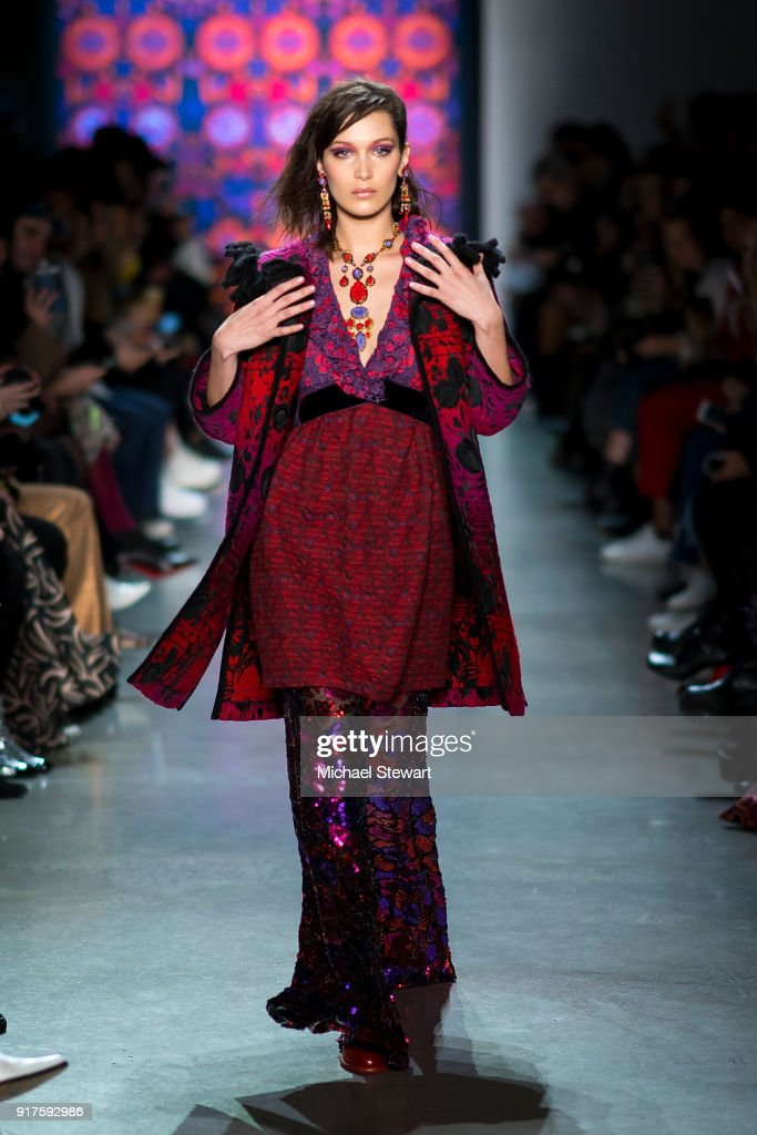 Bella Hadid walks the runway during the Anna Sui fashion show during New York Fashion Week at Gallery I at Spring Studios on February 12, 2018 in New York City.