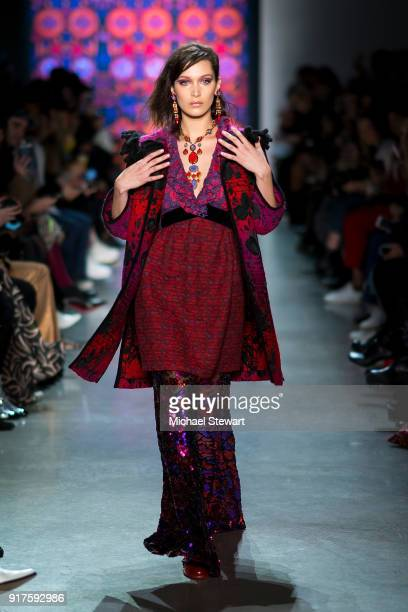Bella Hadid walks the runway during the Anna Sui fashion show during New York Fashion Week at Gallery I at Spring Studios on February 12 2018 in New...