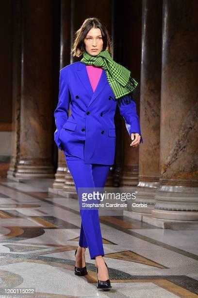 Bella Hadid walks the runway during the Berluti Menswear Fall/Winter 2020-2021 show as part of Paris Fashion Week at Opera Garnier on January 17,...