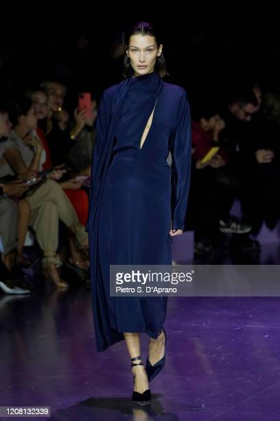Bella Hadid walks the runway during the Boss fashion show as part of Milan Fashion Week Fall/Winter 20202021 on February 23 2020 in Milan Italy