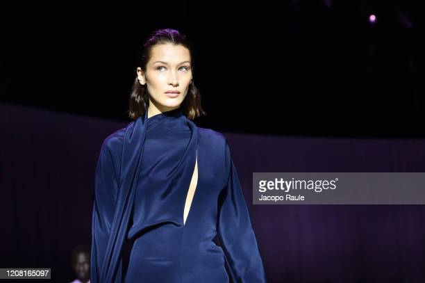 Bella Hadid walks the runway during the Boss fashion show as part of Milan Fashion Week Fall/Winter 2020-2021 on February 23, 2020 in Milan, Italy.