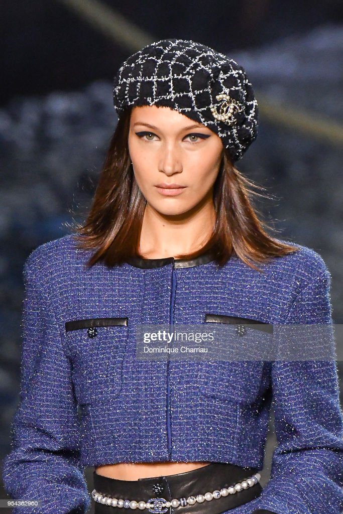 Bella Hadid walks the runway during the Chanel Cruise 2018/2019 Collection at Le Grand Palais on May 3, 2018 in Paris, France.