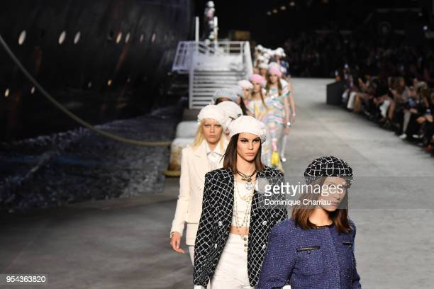 Bella Hadid walks the runway during the Chanel Cruise 2018/2019 Collection at Le Grand Palais on May 3 2018 in Paris France