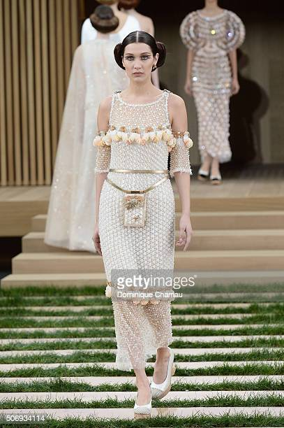 Bella Hadid walks the runway during the Chanel Haute Couture Spring Summer 2016 show as part of Paris Fashion Week on January 26 2016 in Paris France