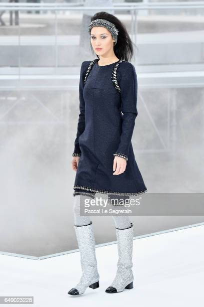 Bella Hadid walks the runway during the Chanel show as part of the Paris Fashion Week Womenswear Fall/Winter 2017/2018 on March 7 2017 in Paris France