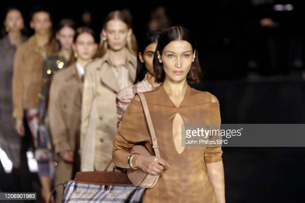 Bella Hadid walks the runway during the finale at the Burberry show during London Fashion Week February 2020 on February 17, 2020 in London, England.