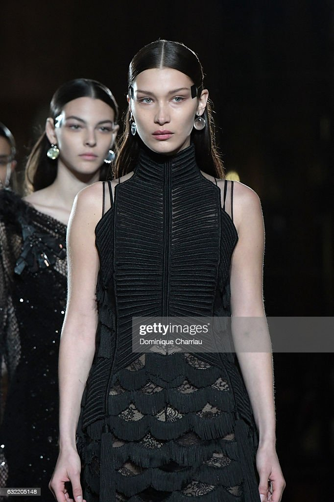 Bella Hadid walks the runway during the Givenchy Menswear Fall/Winter 2017-2018 show as part of Paris Fashion Week on January 20, 2017 in Paris, France.