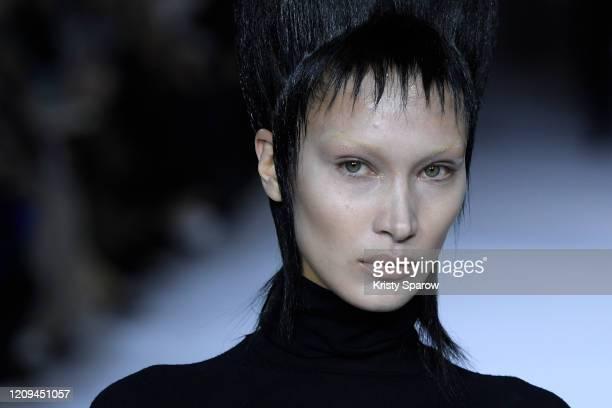 Bella Hadid walks the runway during the Haider Ackermann show as part of Paris Fashion Week Womenswear Fall/Winter 2020/2021 on February 29, 2020 in...