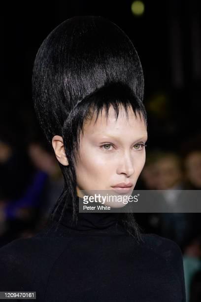 Bella Hadid walks the runway during the Haider Ackermann show as part of the Paris Fashion Week Womenswear Fall/Winter 2020/2021 on February 29, 2020...