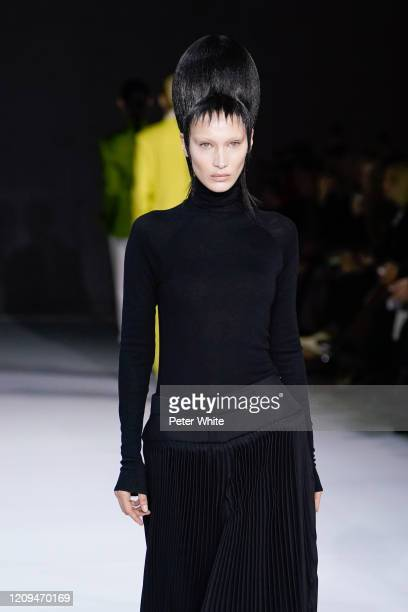 Bella Hadid walks the runway during the Haider Ackermann show as part of the Paris Fashion Week Womenswear Fall/Winter 2020/2021 on February 29 2020...