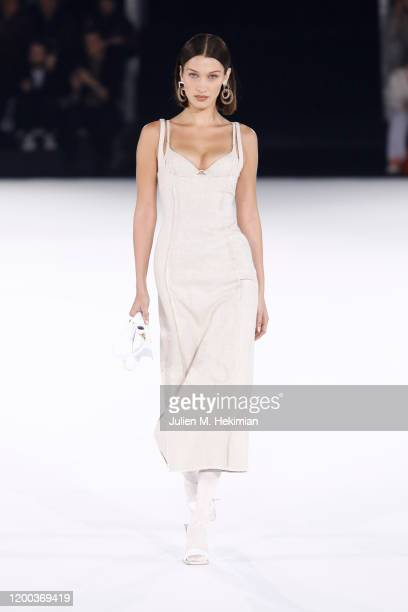 Bella Hadid walks the runway during the Jacquemus Menswear Fall/Winter 2020-2021 show as part of Paris Fashion Week on January 18, 2020 in Paris,...