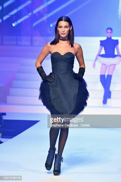 Bella Hadid walks the runway during the Jean-Paul Gaultier Haute Couture Spring/Summer 2020 show as part of Paris Fashion Week at Theatre Du Chatelet...