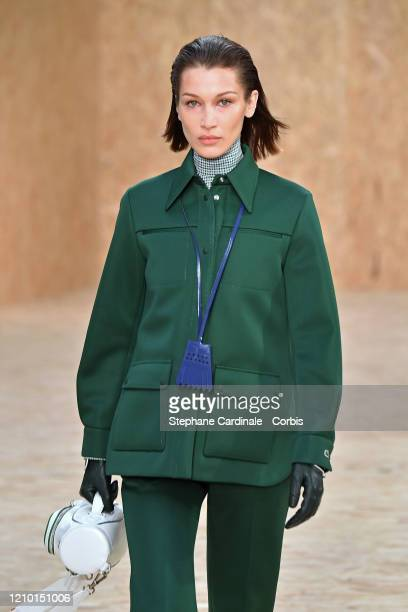 Bella Hadid walks the runway during the Lacoste as part of the Paris Fashion Week Womenswear Fall/Winter 2020/2021 on March 03, 2020 in Paris, France.
